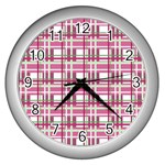 Pink plaid pattern Wall Clocks (Silver)
