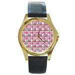Pink plaid pattern Round Gold Metal Watch