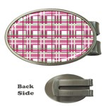 Pink plaid pattern Money Clips (Oval)