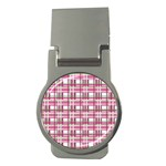 Pink plaid pattern Money Clips (Round)