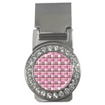 Pink plaid pattern Money Clips (CZ)