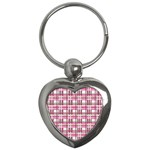 Pink plaid pattern Key Chains (Heart)
