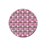 Pink plaid pattern Rubber Coaster (Round)