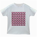 Pink plaid pattern Kids White T-Shirts