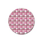 Pink plaid pattern Magnet 3  (Round)