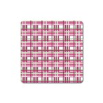 Pink plaid pattern Square Magnet