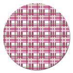 Pink plaid pattern Magnet 5  (Round)