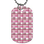 Pink plaid pattern Dog Tag (One Side)