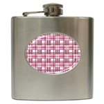 Pink plaid pattern Hip Flask (6 oz)