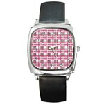 Pink plaid pattern Square Metal Watch