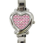 Pink plaid pattern Heart Italian Charm Watch