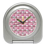 Pink plaid pattern Travel Alarm Clocks
