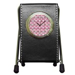 Pink plaid pattern Pen Holder Desk Clocks