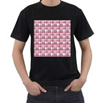 Pink plaid pattern Men s T-Shirt (Black) (Two Sided)