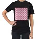 Pink plaid pattern Women s T-Shirt (Black) (Two Sided)
