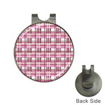 Pink plaid pattern Hat Clips with Golf Markers