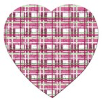 Pink plaid pattern Jigsaw Puzzle (Heart)
