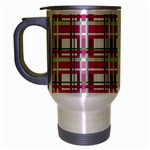 Pink plaid pattern Travel Mug (Silver Gray)