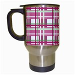 Pink plaid pattern Travel Mugs (White)