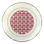 Pink plaid pattern Porcelain Plates