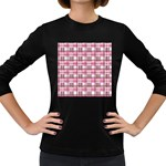 Pink plaid pattern Women s Long Sleeve Dark T-Shirts
