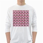 Pink plaid pattern White Long Sleeve T-Shirts