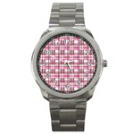 Pink plaid pattern Sport Metal Watch