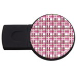 Pink plaid pattern USB Flash Drive Round (4 GB)