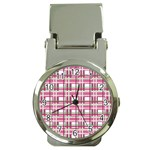 Pink plaid pattern Money Clip Watches