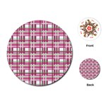 Pink plaid pattern Playing Cards (Round)