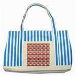Pink plaid pattern Striped Blue Tote Bag