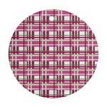 Pink plaid pattern Round Ornament (Two Sides)