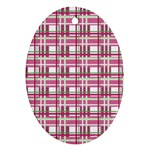 Pink plaid pattern Oval Ornament (Two Sides)