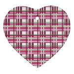 Pink plaid pattern Heart Ornament (2 Sides)