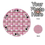 Pink plaid pattern Playing Cards 54 (Round)