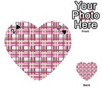 Pink plaid pattern Playing Cards 54 (Heart)