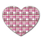 Pink plaid pattern Heart Mousepads
