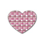 Pink plaid pattern Rubber Coaster (Heart)