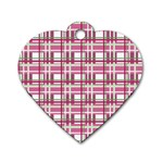 Pink plaid pattern Dog Tag Heart (Two Sides)