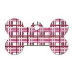 Pink plaid pattern Dog Tag Bone (One Side)