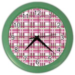 Pink plaid pattern Color Wall Clocks