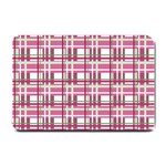 Pink plaid pattern Small Doormat