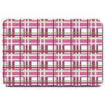 Pink plaid pattern Large Doormat
