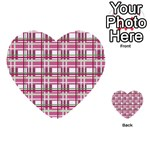 Pink plaid pattern Multi-purpose Cards (Heart)