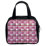 Pink plaid pattern Classic Handbags (2 Sides)