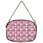 Pink plaid pattern Chain Purses (One Side)