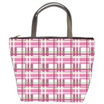 Pink plaid pattern Bucket Bags