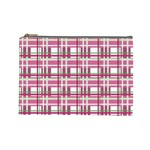 Pink plaid pattern Cosmetic Bag (Large)