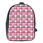 Pink plaid pattern School Bags(Large)