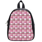Pink plaid pattern School Bags (Small)